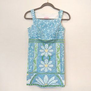 Lilly Pulitzer mosaic daisy blue green dress 0